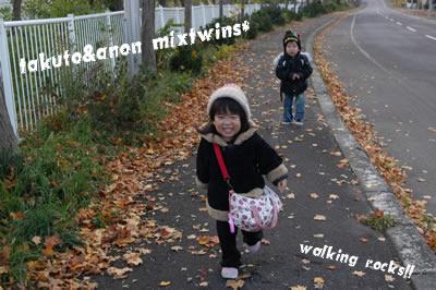3歳半になるミックスツインズです! お友達の家へ向かう途中のショット。 秋・・・というよりはもう冬迫ってます( ̄ー ̄;